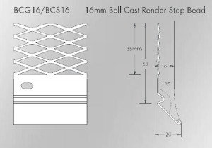 16mm Galvanised Bell Cast Render Stop Bead