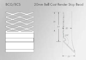 20mm Galvanised Bell Cast Render Stop bead