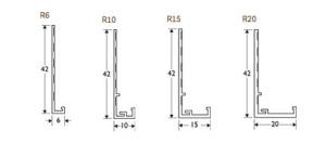 dimensions of R10 R15 R20 PVC plaster stop bead