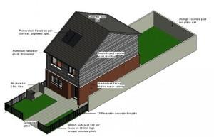 Rapid build housing Cement board cladding