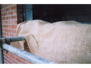 Hessian Scrim for frost protection of brickwork and concrete