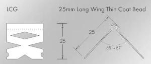 long wing thin coat internal corner plastering bead