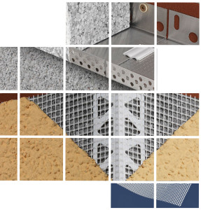 render insulation beads, pvc mesh and starter track for external insulation