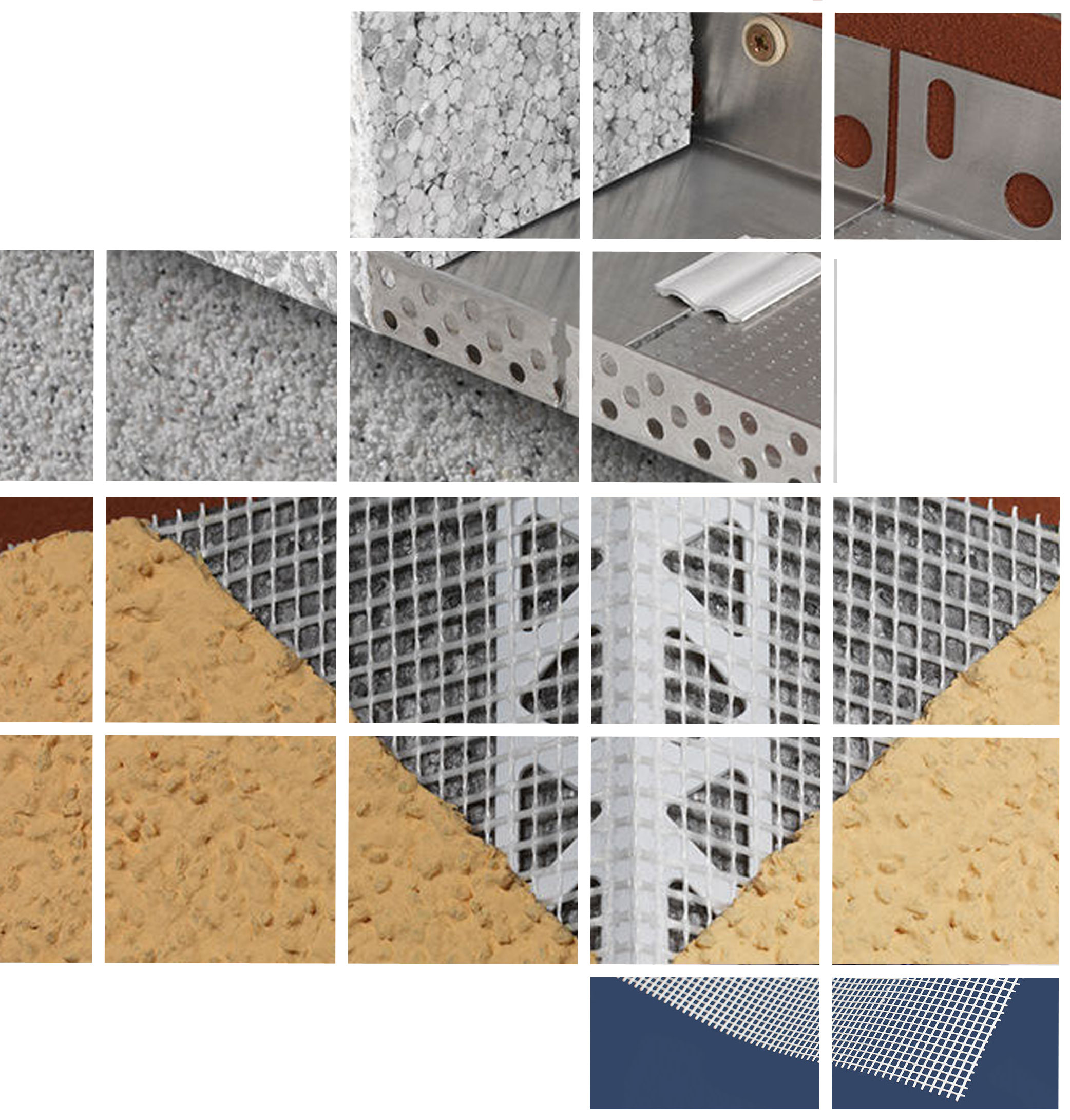 render insulation beads, pvc mesh and starter track for external insulation applications
