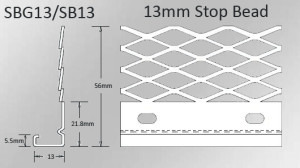 specifications of 13mm stop bead for internal plastering
